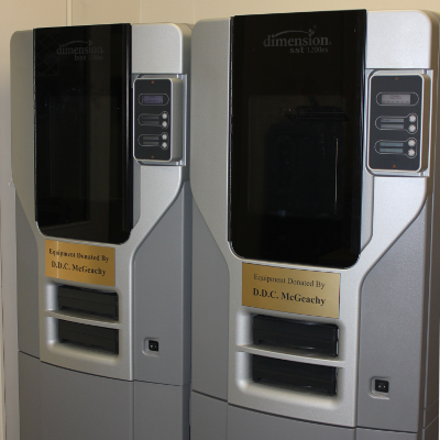 Dimension 1200es 3D printers in our machine shop